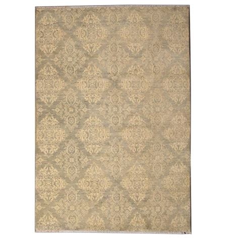 Modern Square Rug Transitional Square Khaki Gray Rug With Damask Pattern And Modern Style For Sale At 1stdibs