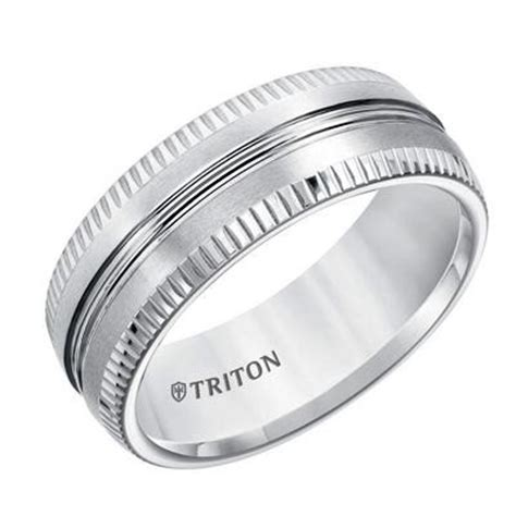 Ribbed Edge Tungsten Air Wedding Band ? Brooks Diamonds