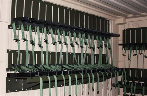 arms room universal expeditionary weapons storage system mobile shelving high density storage