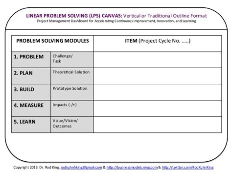 continuous improvement form template the universal problem solving ups canvas a project