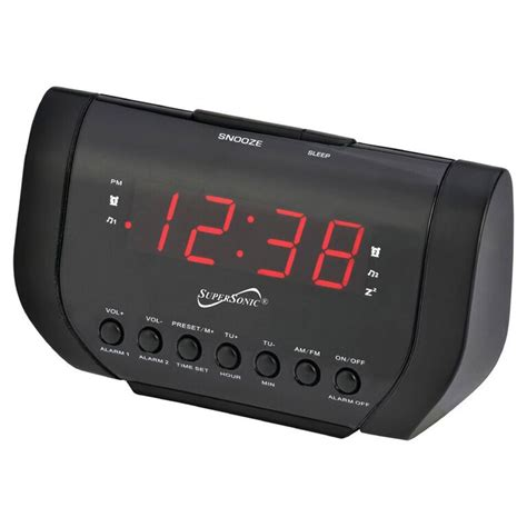 supersonic 97098419m dual alarm clock radio with usb charging port shop your way