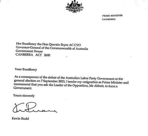 Resignation Letter Sle Australia Here Is The Resignation Letter Kevin Rudd Sent To The
