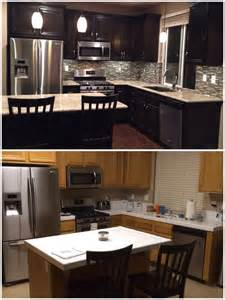 Black Laminate Kitchen Cabinets Upgraded Kitchen Espresso Stained Cabinets Added Hardware Glass Mosaic Backsplash