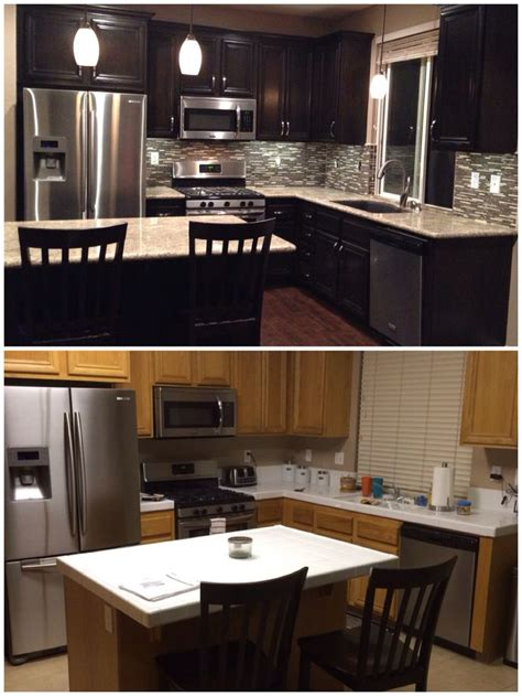 Granite Kitchen Cabinets Upgraded Kitchen Espresso Stained Cabinets Added Hardware Glass Mosaic Backsplash