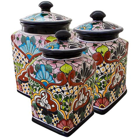 canister sets for kitchen ceramic talavera kitchen canisters collection talavera kitchen