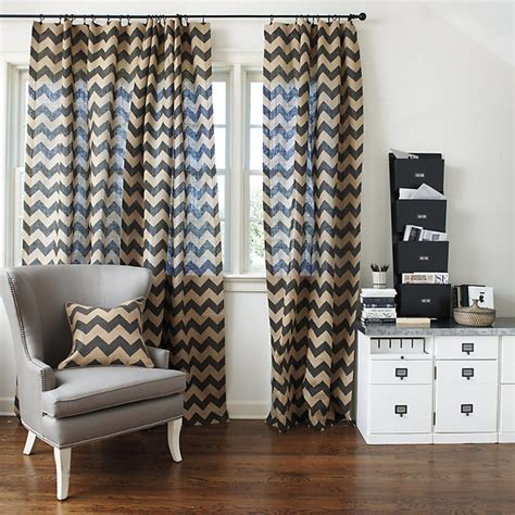 Chevron Burlap Panel Contemporary Curtains By