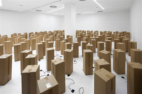 milk gallery design store sound art installation out of cardboard boxes design milk