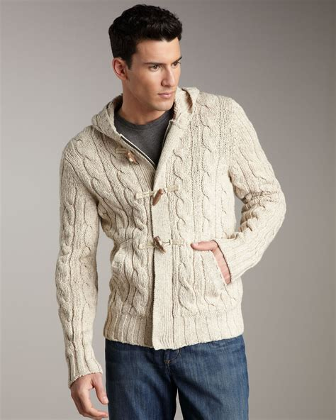 cable knit cardigan mens lyst vince cable knit toggle cardigan in for