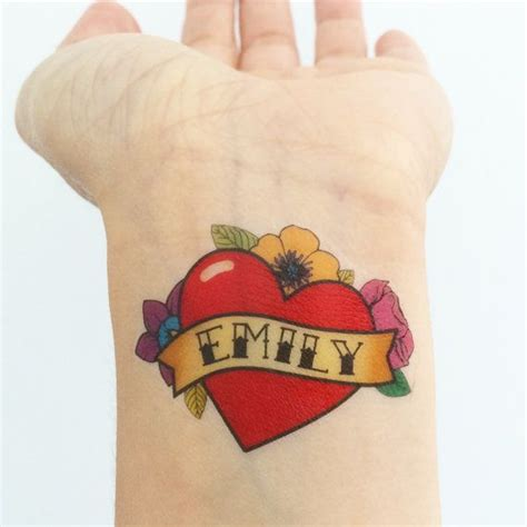 heartbeat temporary tattoo 15 custom old school heart temporary tattoos celebrate