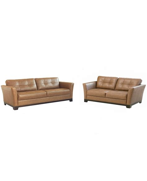 Macys Leather Furniture by Macy S Martino Leather Living Room Furniture 2 Set
