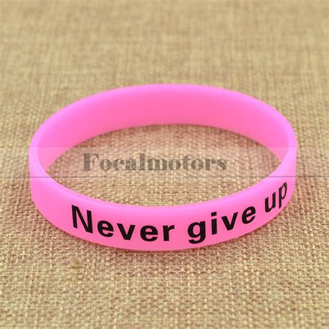 Wrist Bracelets Give You Me Ups by Glow In Never Give Up Rubber Silicon Wristband