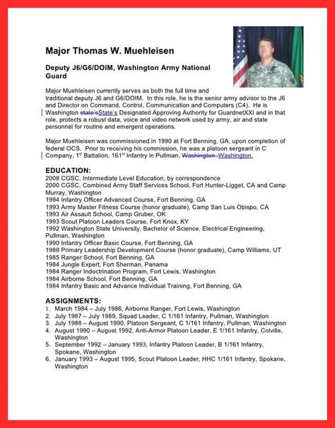 military biography format military bio template good resume format