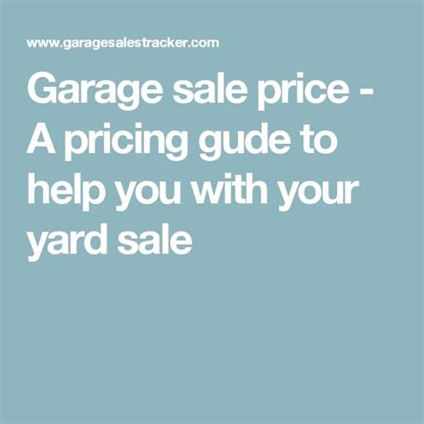 25 best ideas about garage sale pricing on