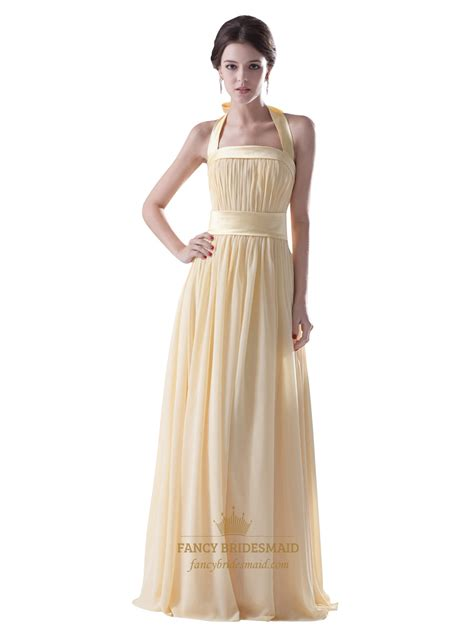 light yellow bridesmaid dresses pale yellow halter neck chiffon long bridesmaid dress with