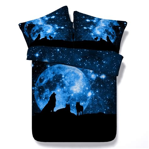 3d galaxy wolf animal print comforter bedding set twin