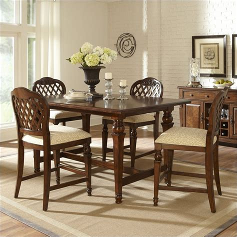 walnut 5 piece counter height dining room set 1549 monarch hillsdale woodridge 5 piece counter height dining set in