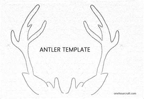 printable reindeer application antler template for christmas card at onehourcraft com