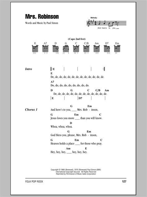 guitar tutorial mrs robinson mrs robinson sheet music direct