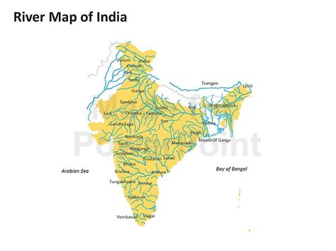 River Map Of India Editable Powerpoint Slides Editable Map Of India