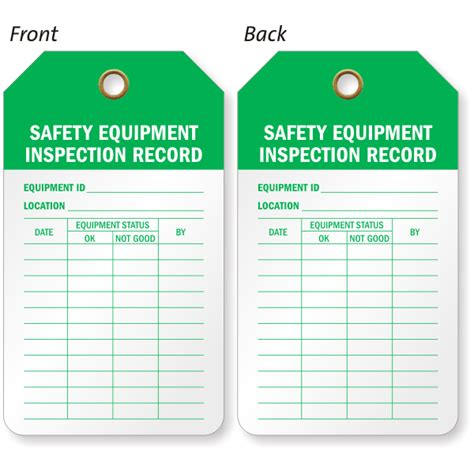 printable equipment tags safety equipment inspection and status record 2 sided tag