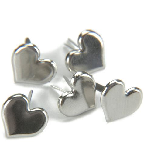 Paper Fastener Crafts - metal paper fasteners 50pk silver hearts joann