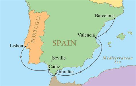 iberian peninsula on map spain portugal golf vacation kalos golf cruises