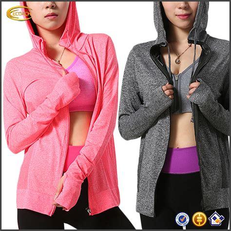 Baju Renang Berkerudung ecoach grosir berkerudung depan zipper warna murni olahraga jaket olahraga wanita olahraga