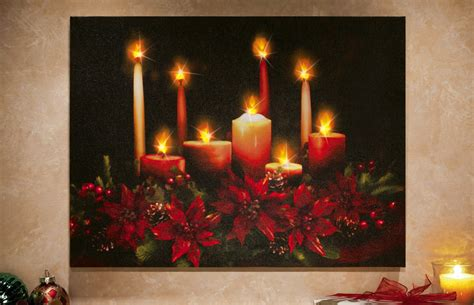 how to make a christmas yard poinsettia lighted musical poinsettia wall canvas with lighted led flickering candle light ebay