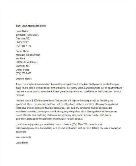 Loan Letter From Bank Loan Application Letter Templates 8 Free Word Documents