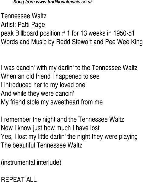 waltz lyrics top songs 1948 charts lyrics for tennessee waltz