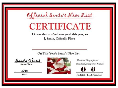official santas nice list certificate  toys