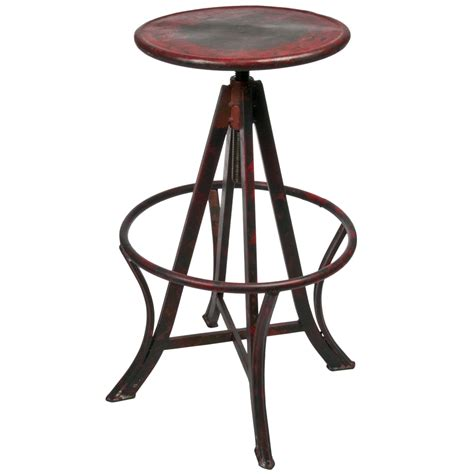 vintage inspired adjustable industrial metal stool omero