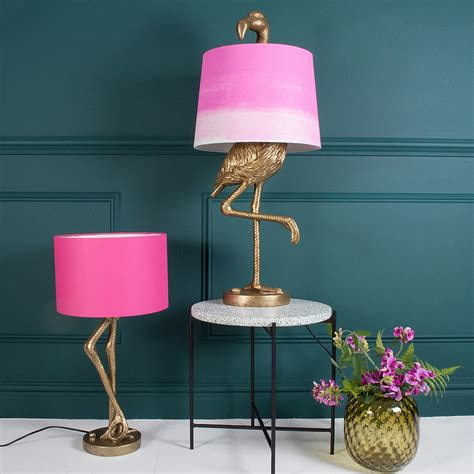 pink l shade antique gold flamingo leg l with pink shade from