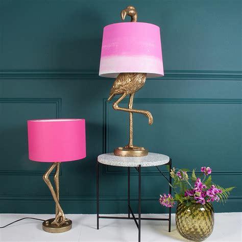 Brass flamingo leg table lamp pink shade audenza
