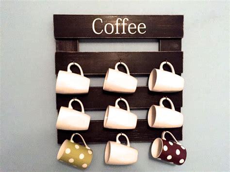 Coffee Cup Rack coffee mug rack cup display reclaimed wood kitchen storage