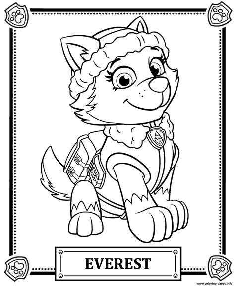 printable coloring pages for paw patrol print paw patrol everest coloring pages paw patrol