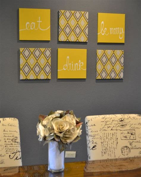 fantastic kitchen wall art decorating ideas images in eat drink be merry yellow and gray wall art by