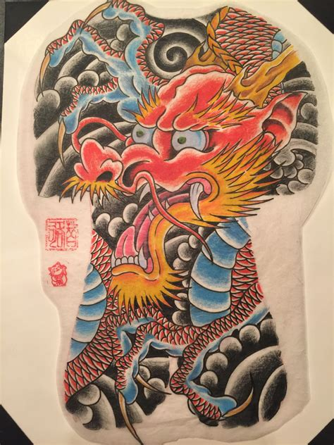 traditional japanese tattoo artist japanese with japanese wind backpiece drawing done
