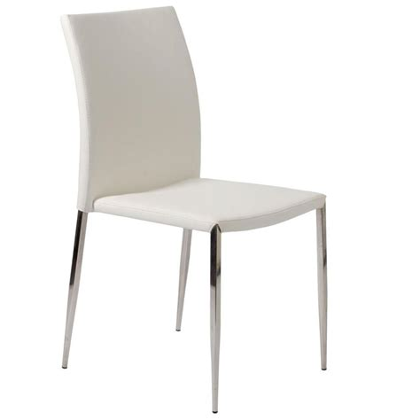 White Leather Dining Room Chairs diana stacking chair white stainless steel dining chairs