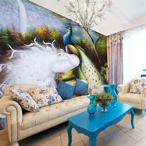 Custom Wall Murals Cheap wall mural fashion wallpaper peacock double wallpaper size custom made