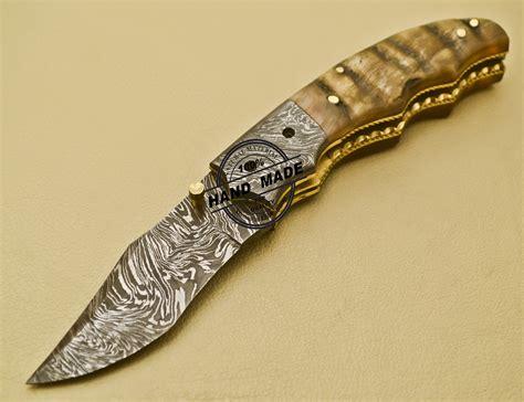 Handmade Damascus Steel Knives - damascus folding knife custom handmade damascus steel