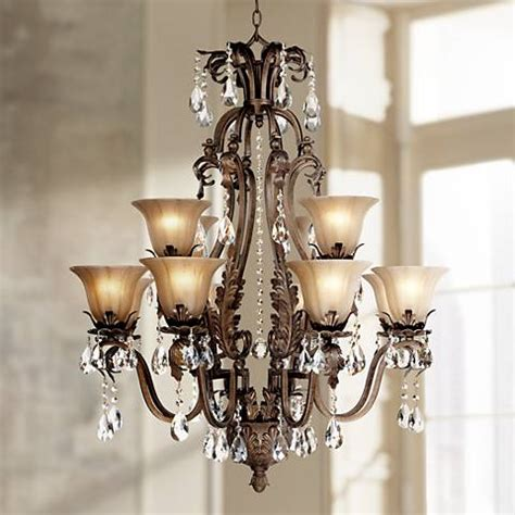 dining room chandeliers with l shades iron leaf 34 quot wide bronze and crystal 12 light chandelier