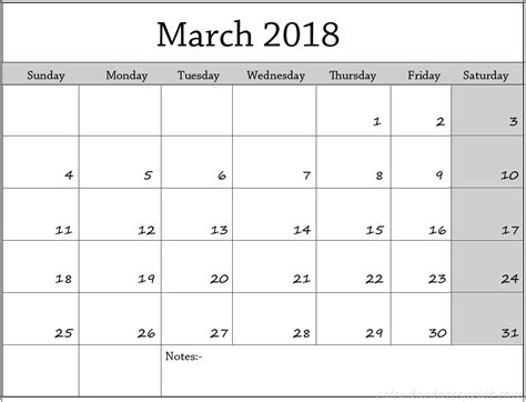 printable calendar 2018 with notes march 2018 calendar with notes printable template