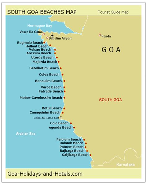 resort goa map south goa map with names