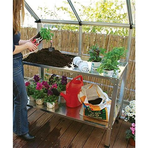 potting bench for greenhouse palram galvanized steel potting bench 6cows greenhouse covers com