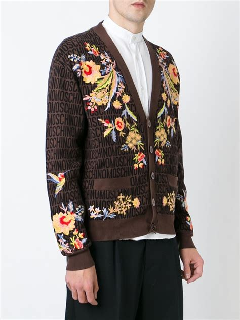 V Neck Floral Embroidered Cardigan moschino floral embroidered cardigan in brown for lyst