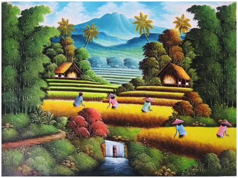 gambar lukisan pemandangan sawah padi lukisan pinterest
