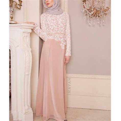 Keisha Soft Grey Pink Dress dusty pink crochet dress light grey soft georgette inayah www inayahcollection