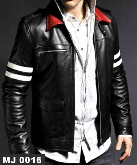 desain jaket merah jaket kulit kerah merah mj 0016 strip putih model terbaru