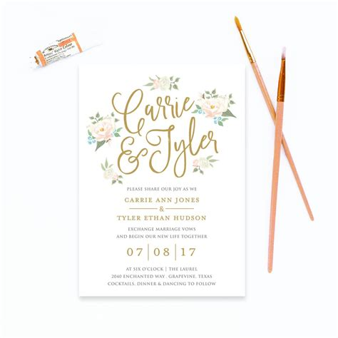 watercolor floral wedding invitation paper design